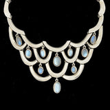Vintage Mexican Sterling & Moonstone Collar Necklace