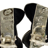 Vintage Signed Mexican Sterling Onyx Clip On Earrings