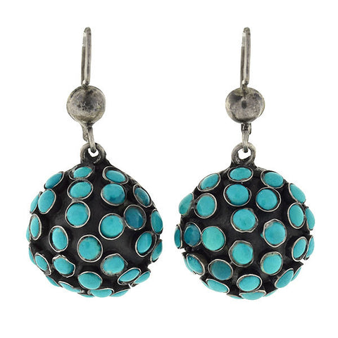Vintage Mexican Sterling & Turquoise Cluster Earrings