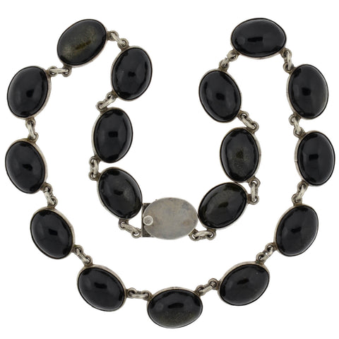 Vintage Mexican Sterling Obsidian Link Bracelet/Necklace Set
