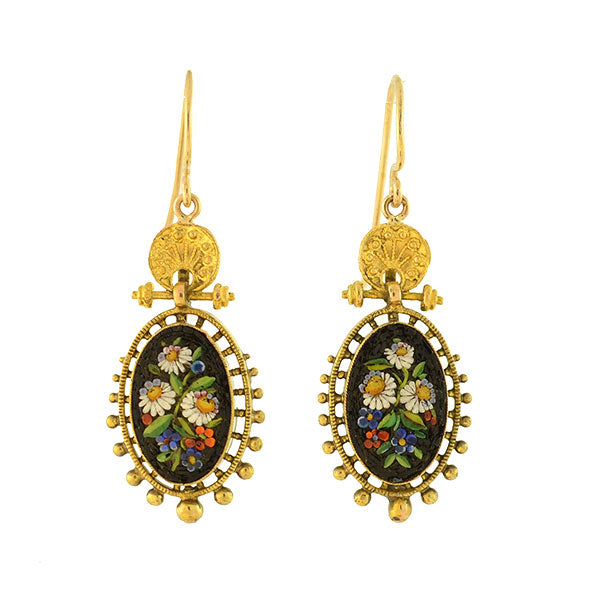 Victorian 14kt Etruscan Micro Mosaic Flower Earrings