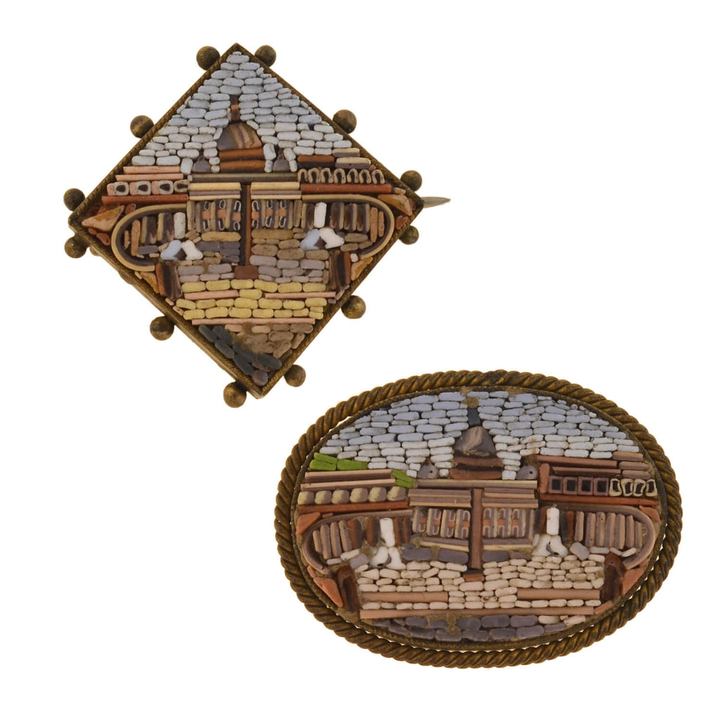 Victorian Gold-Filled Micro Mosaic Vatican City Pin Set
