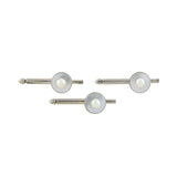 MIKIMOTO Vintage Silver Mother of Pearl & Cultured Pearl Cufflink Set