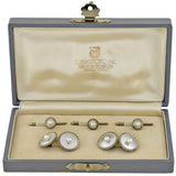 MIKIMOTO Vintage Silver Mother of Pearl & Pearl Cufflink Set