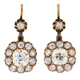 Victorian 18kt Yellow Gold Diamond Cluster Earrings 4ctw