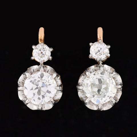 Edwardian French 18kt Gold & Platinum Diamond Earrings 1.80ctw