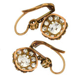 Victorian 18kt Yellow Gold Diamond Cluster Earrings 3.40ctw