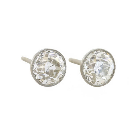Art Deco Platinum Mine Cut Diamond Stud Earrings 1.80ctw