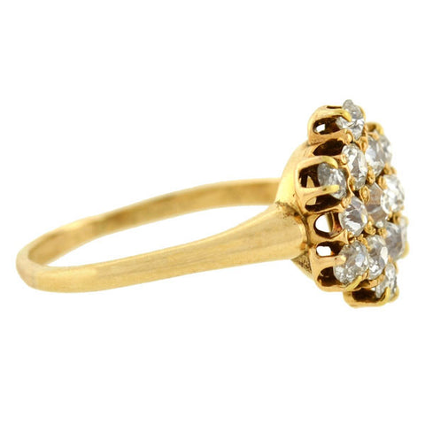Victorian 14kt Mine Cut Diamond Cluster Ring
