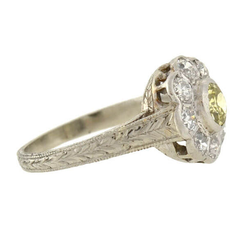 Edwardian 14kt/Platinum Fancy Yellow Diamond Cluster Ring .56ct center