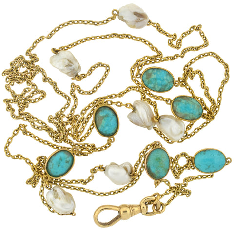 Victorian Long 14kt Turquoise + Mississippi River Pearl Chain Necklace 48""