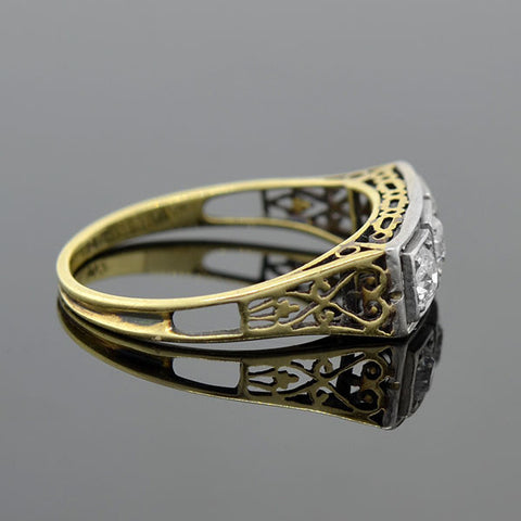 Edwardian 14kt Mixed Metals Diamond 3-Stone Filigree Ring .30ctw