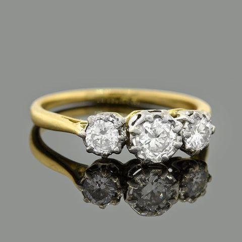Vintage 18kt/Platinum Diamond Trilogy Ring .50ctw