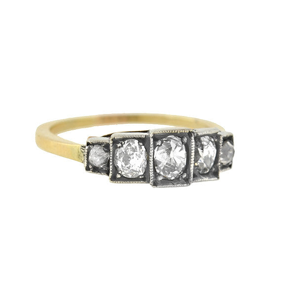 Victorian 14kt/Silver 5-Stone Cushion Cut Diamond Ring .90ctw