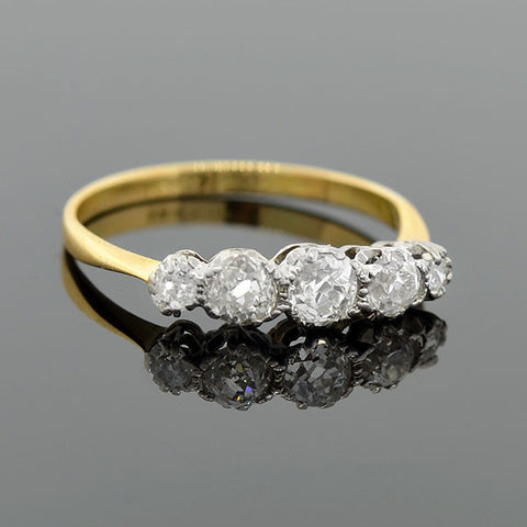 Edwardian Platinum 18kt 5-Stone Diamond Ring .75ctw