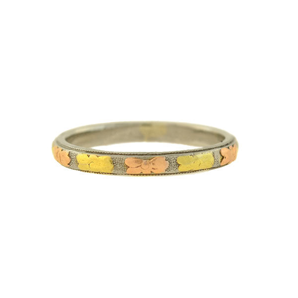 Edwardian 18kt Yellow, Rose + White Gold Floral Motif Band Ring