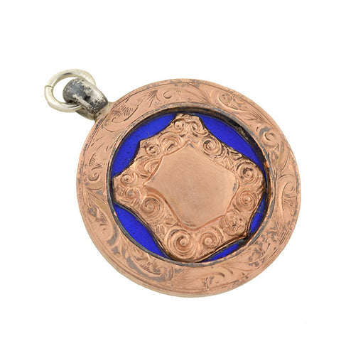 Art Deco English Sterling Rose Gold & Blue Enamel Medallion