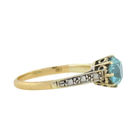 Art Deco English 9kt Mixed Metals Blue Zircon Ring