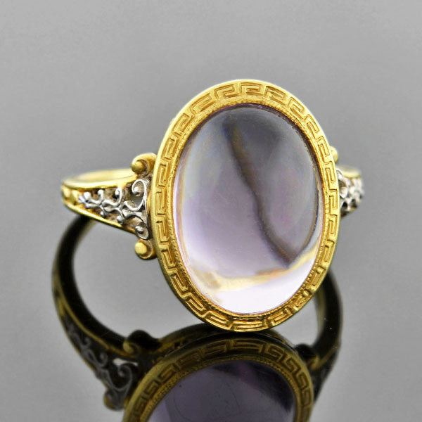 Art Nouveau 14kt Open Back Cabochon Amethyst Ring