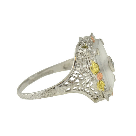 Art Deco 14kt Camphor Glass & Diamond Filigree Ring