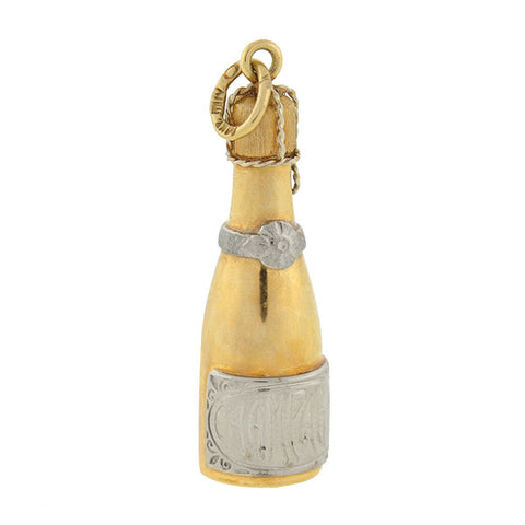 Estate 14kt Mixed Metals Champagne Bottle Charm