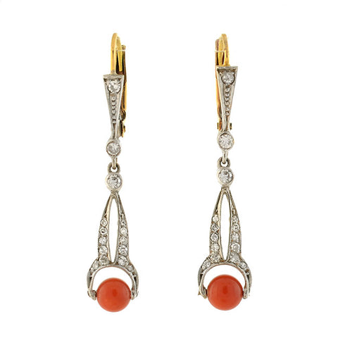 Edwardian Platinum/14kt Diamond + Coral Earrings
