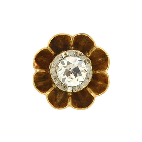 "Victorian 14kt Mine Cut Diamond ""Buttercup"" Stud Earrings .50ct"