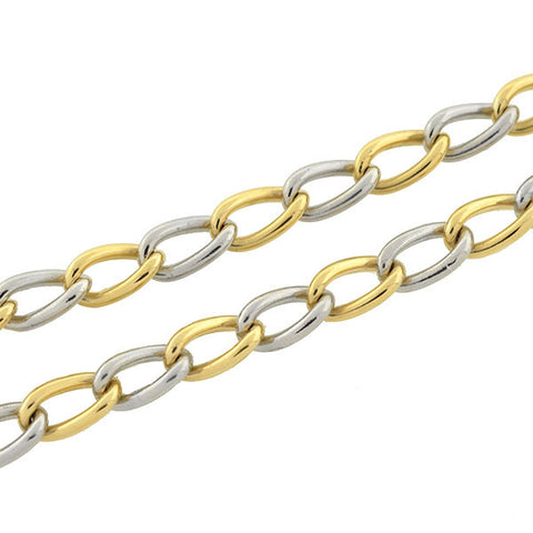 Edwardian Platinum & 18kt Mixed Metals Curb Link Chain