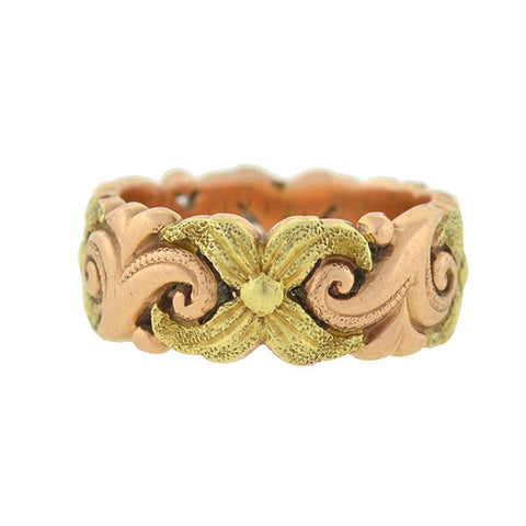 Retro 14kt Rose & Yellow Gold Floral Cutout Band