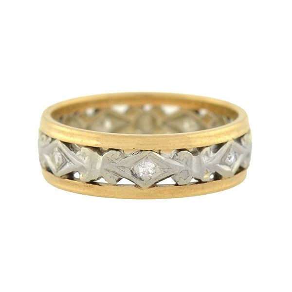 Retro 14kt Mixed Metals Filigree Diamond Band