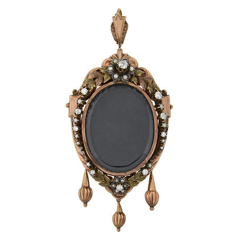 Victorian Large 15kt Pearl & Diamond Wreath Open-Faced Locket