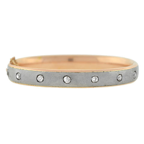 Victorian 14kt Rose Gold Steel Diamond Bangle Bracelet