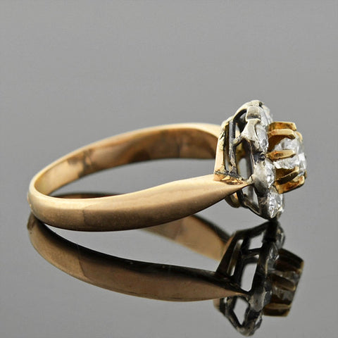 Victorian 14kt/Sterling Diamond Cluster Ring .40ctw