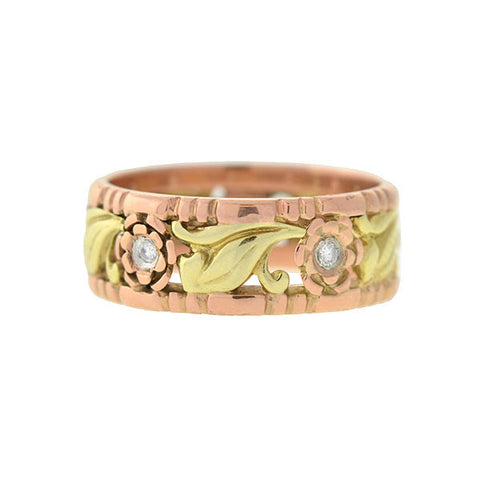 Retro 14kt Mixed Metals Floral Cutout Diamond Band