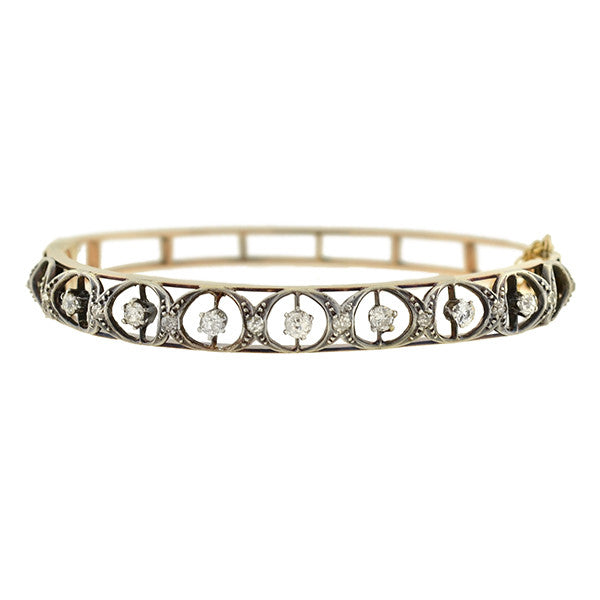 Victorian 14kt/Sterling & Diamond Cutout Bangle Bracelet .95ctw
