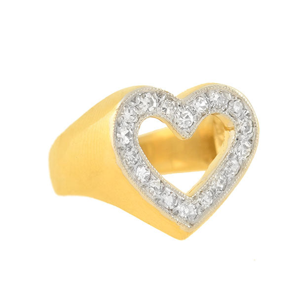Estate 14kt Yellow Gold + Diamond Open Heart Ring 0.50ctw