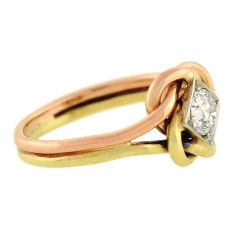 Edwardian 14kt Mixed Metals Diamond Love Knot Ring 0.40ctw