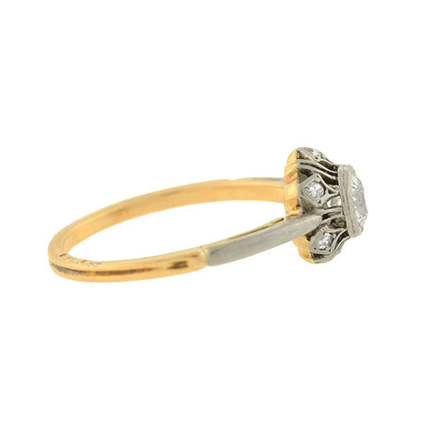 Victorian Mixed Metals Diamond Filigree Ring .53ct