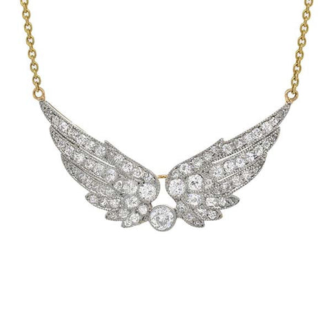 Edwardian Platinum Diamond Wing Necklace 1.25ctw