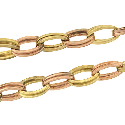 Vintage Rose & Yellow Gold-Filled Oval Link Choker