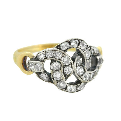 "Victorian 14kt/Silver Diamond ""Woven Knot"" Ring"