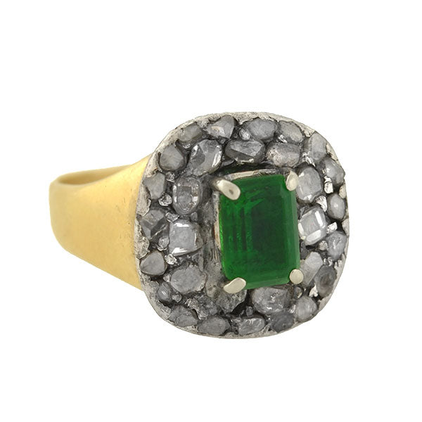 Victorian Mixed Metals Rose Cut Diamond & Emerald Ring