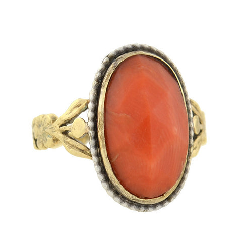 Georgian 15kt Faceted Natural Coral Ring