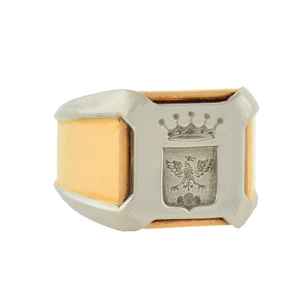 Edwardian 18kt & Platinum Family Crest Signet Ring