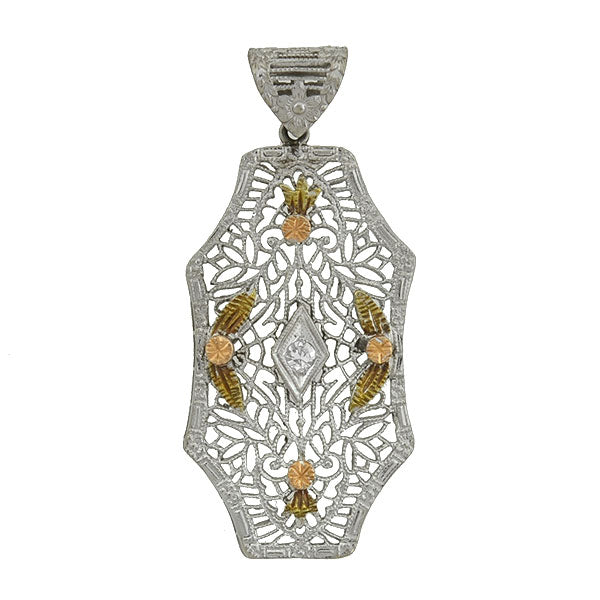 Art Deco 14kt Mixed Metals Diamond Filigree Pendant