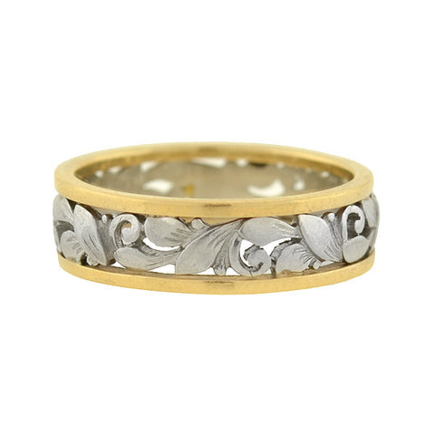 Retro Mixed Metals 14kt/Platinum Floral Cutout Band