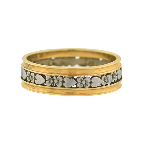 Retro 14kt Mixed Metals Flower & Heart Cutout Band