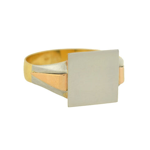 Art Deco French 18kt/Platinum Tri-Tone Signet Ring