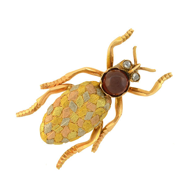 Art Nouveau 14kt Mixed Metals Garnet + Diamond Bug Pin