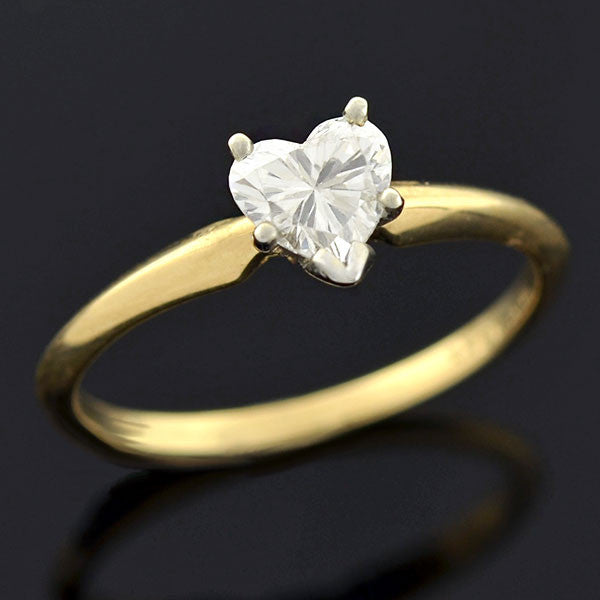 Estate 14kt Heart Diamond Solitaire Engagement Ring 0.45ct